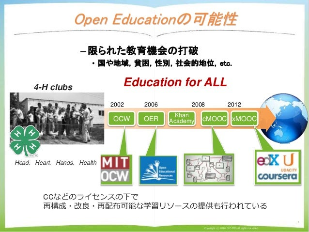 Open Educationの可能性 Copyright (c) 2016 CCC-TIES All rights reserved. 3 –限られた教育機会の打破 • 国や地域,貧困,性別,社会的地位,etc. 2002 OCW cMOOC ...
