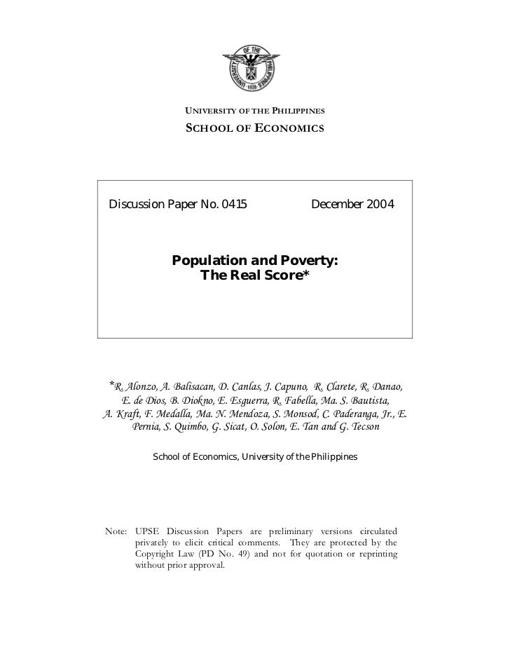 UNIVERSITY OF THE PHILIPPINES                   SCHOOL OF ECONOMICS Discussion Paper No. 0415                       Decemb...