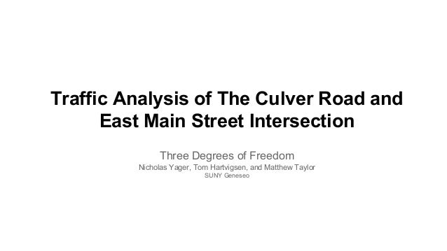 Traffic Analysis of The Culver Road and East Main Street