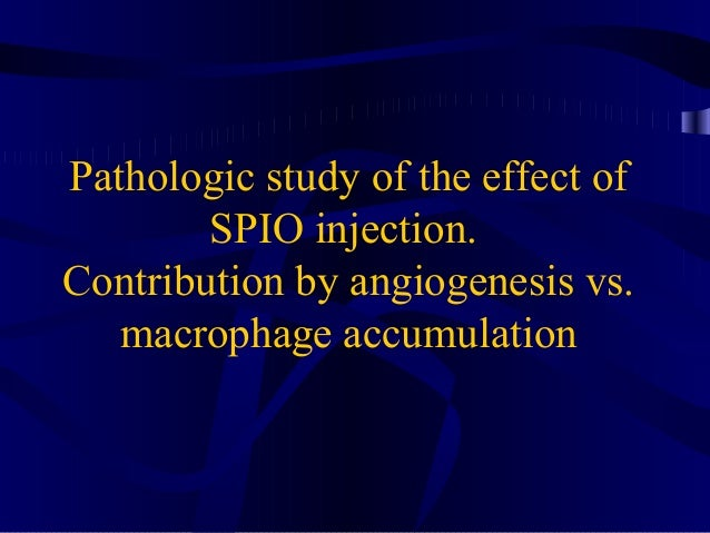 Pathologic study of the effect of SPIO injection. Contribution by angiogenesis vs. macrophage accumulation