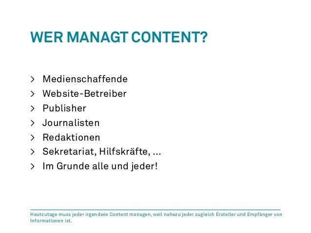 Wer Managt Content?  > Medienschaffende  > Website-Betreiber  > Publisher  > Journalisten  > Redaktionen  > Sekretariat, H...