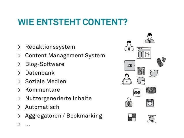 Wie entsteht Content?  > Redaktionssystem  > Content Management System  > Blog-Software  > Datenbank  > Soziale Medien  > ...