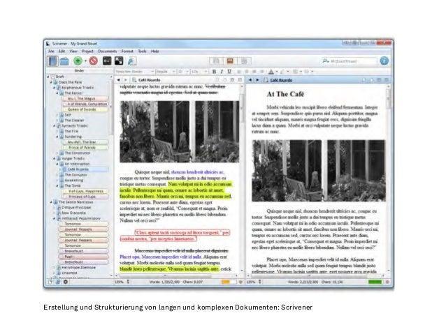 Erstellung und Strukturierung von langen und komplexen Dokumenten: Scrivener