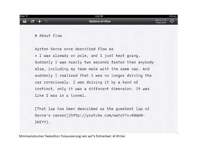 Minimalistischer Texteditor. Fokussierung rein auf's Schreiben: iA Writer