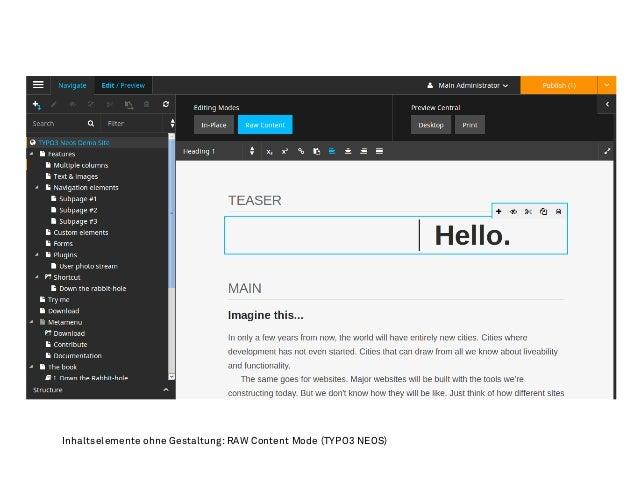 Inhaltselemente ohne Gestaltung: RAW Content Mode (TYPO3 NEOS)