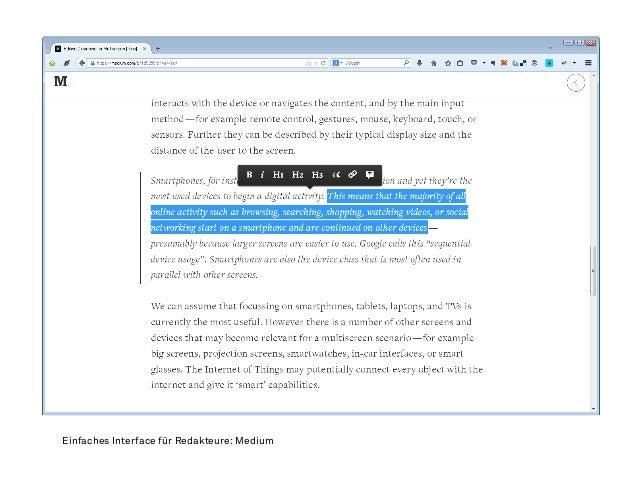 Einfaches Interface für Redakteure: Medium