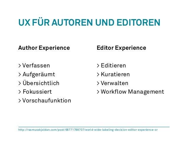 UX für Autoren und Editoren  Author Experience  > Verfassen  > Aufgeräumt  > Übersichtlich  > Fokussiert  > Vorschaufunkti...