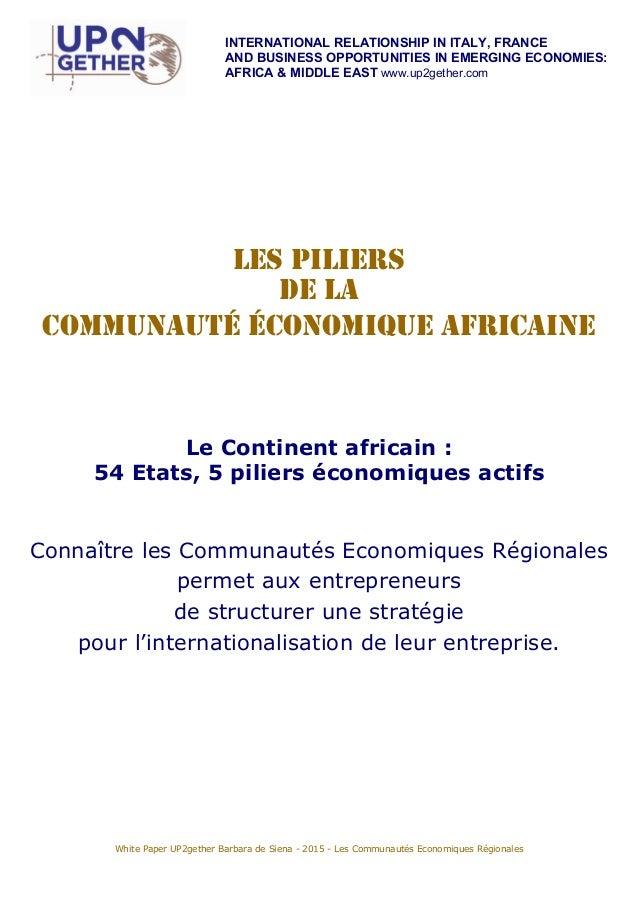 Livre blanc UP2gether : Les Communautés économiques régionales en Afrique Slide 2