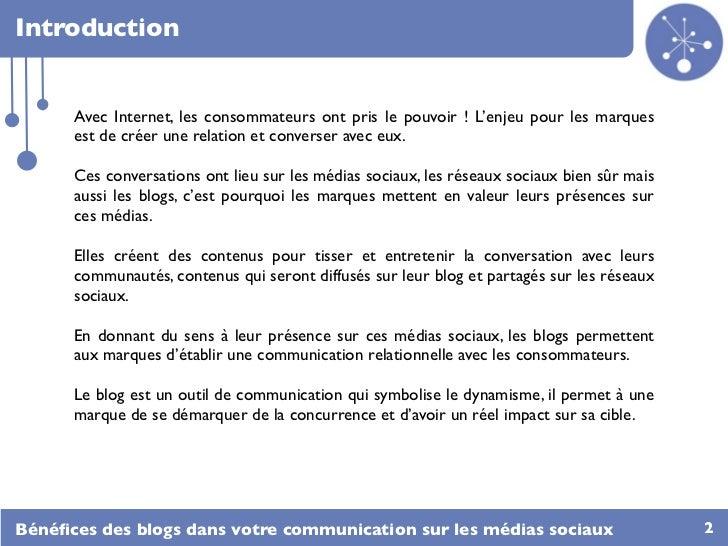 Bénéfices des blogs dans votre communication sur les médias sociaux Slide 2