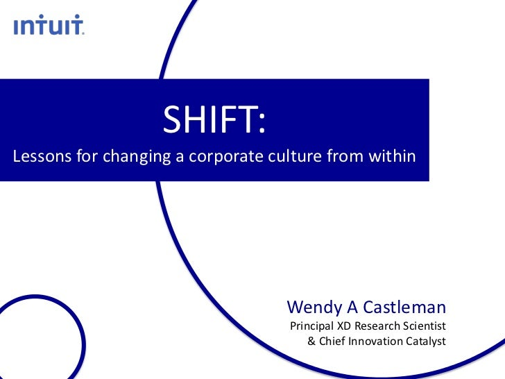 SHIFT:Lessons for changing a corporate culture from within                                   Wendy A Castleman            ...