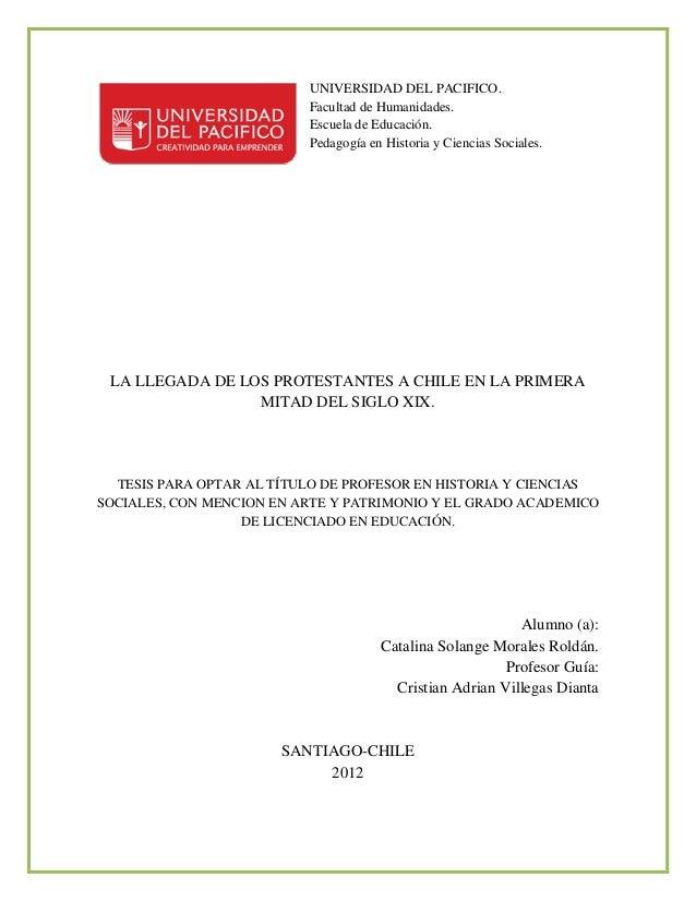 UNIVERSIDAD DEL PACIFICO.                          Facultad de Humanidades.                          Escuela de Educación....