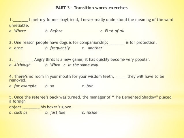 transitions in essays exercises