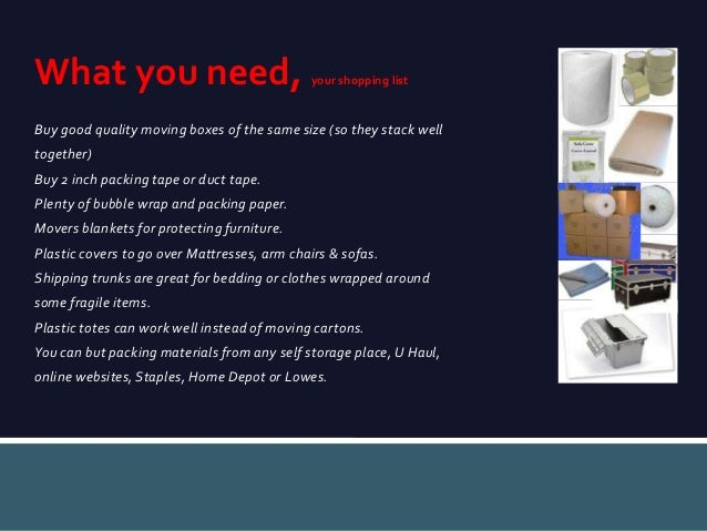 UPakWeShip, how to pack for an international move Slide 3