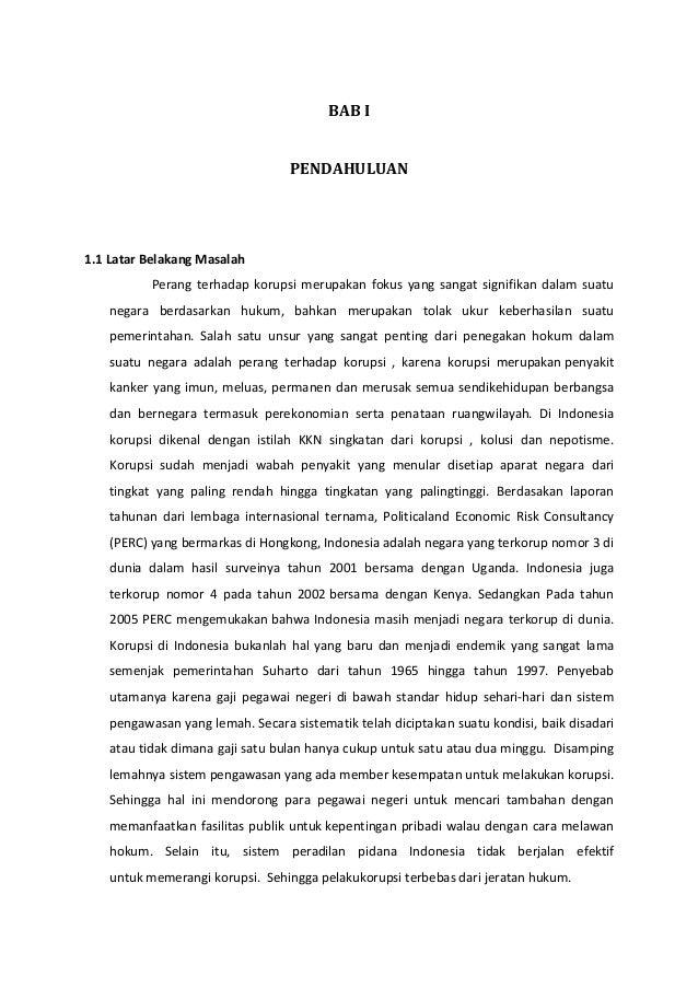 Latar Belakang Upaya Pemberantasan Korupsi Di Indonesia
