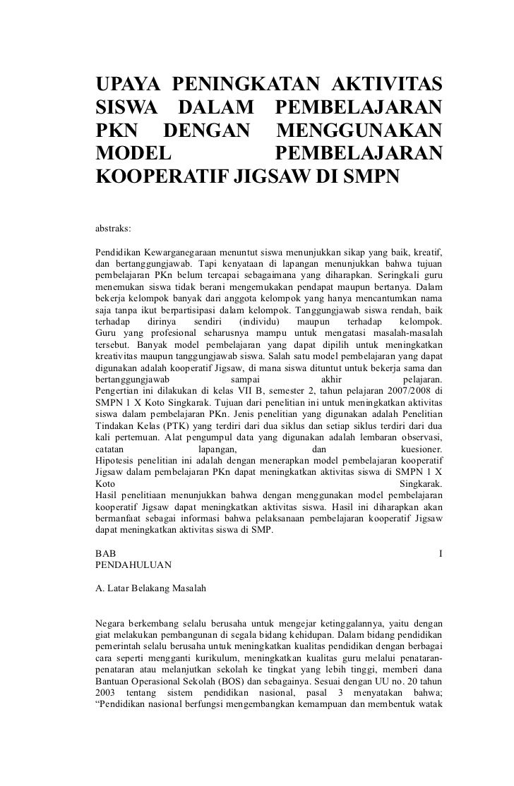 UPAYA PENINGKATAN AKTIVITAS SISWA DALAM PEMBELAJARAN PKN DENGAN MENGGUNAKAN MODEL          PEMBELAJARAN KOOPERATIF JIGSAW ...