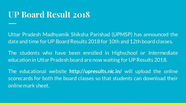UP Board Results 2018 Check UPMSP 10th and 12th Board Results