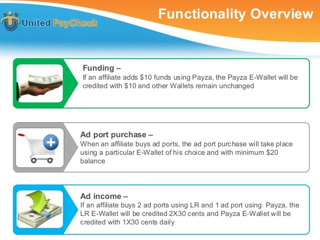 Functionality Overview If an Affiliate adds $10 funds using Payza, the Payza E- Wallet will be credited with $10 and other...