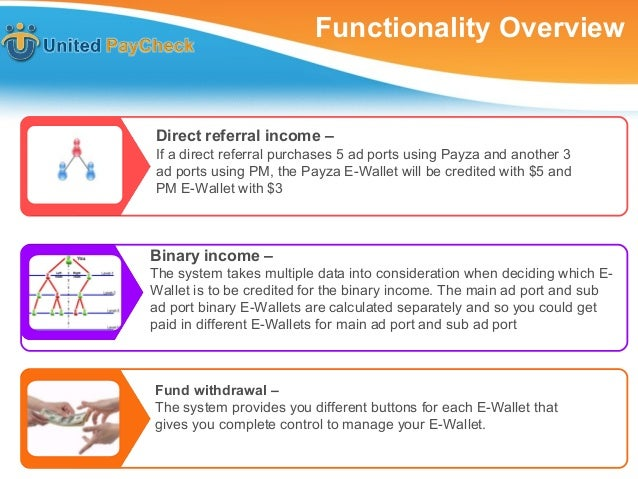 Functionality OverviewIf my direct referral purchases 5 ad ports using Payza andanother 3 ad ports using PM, my Payza E-Wa...