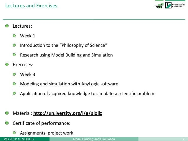 """2Model Building and SimulationWS 2012-13 MODUSLectures and ExercisesLectures:Week 1Introduction to the """"Philosophy of Scie..."""