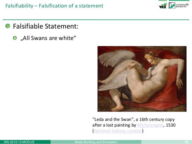 "47Model Building and SimulationWS 2012-13 MODUSFalsifiability – Falsification of a statementNot falsifiable statement:""All..."