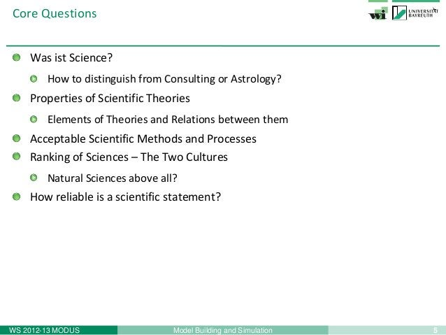 5Model Building and SimulationWS 2012-13 MODUSCore QuestionsWas ist Science?How to distinguish from Consulting or Astrolog...