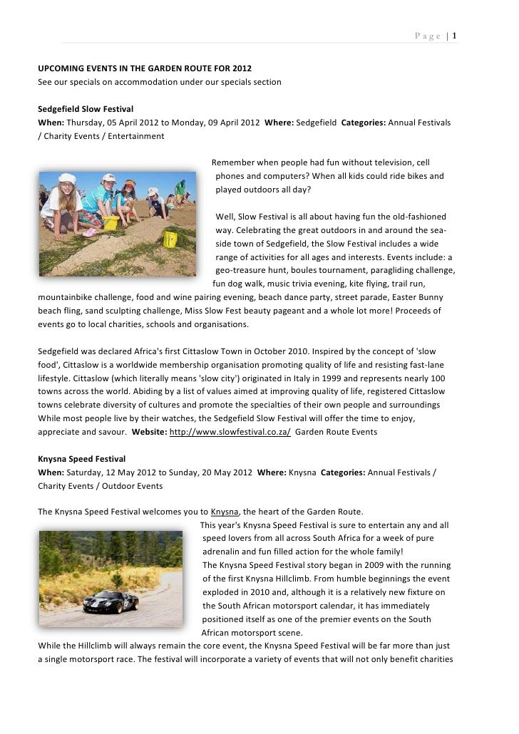 Page |1UPCOMING EVENTS IN THE GARDEN ROUTE FOR 2012See our specials on accommodation under our specials sectionSedgefield ...