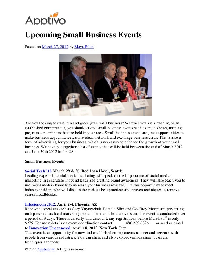 Upcoming Small Business EventsPosted on March 27, 2012 by Maya PillaiAre you looking to start, run and grow your small bus...