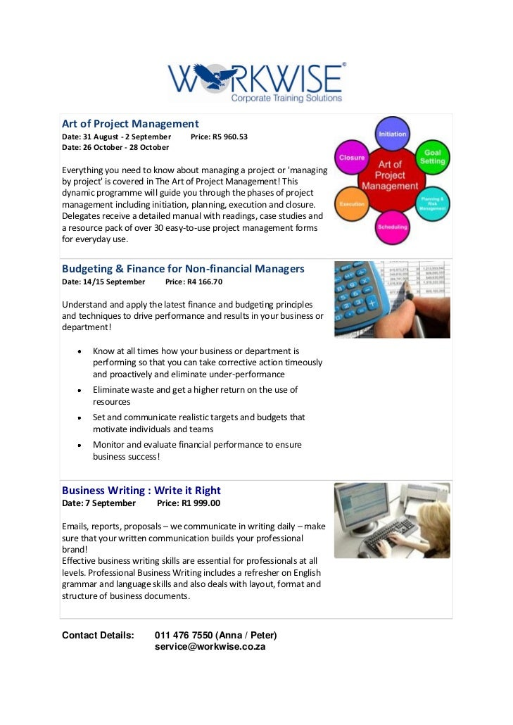 Art of Project ManagementDate: 31 August - 2 September      Price: R5 960.53Date: 26 October - 28 OctoberEverything you ne...