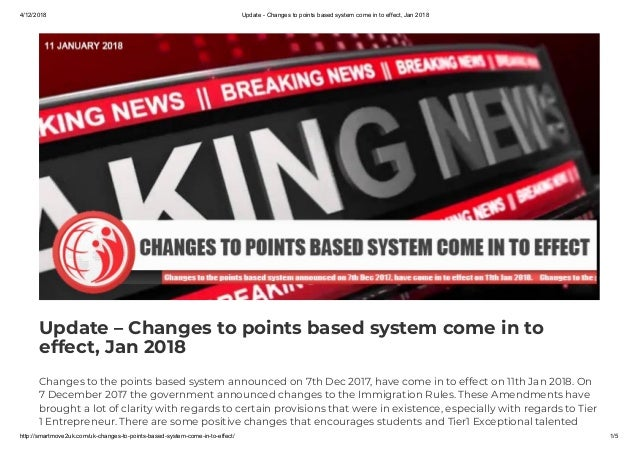 Update – Changes to points based system come in to effect
