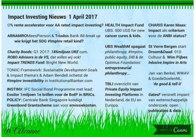 Impact Investing Nieuws 1 April 2017