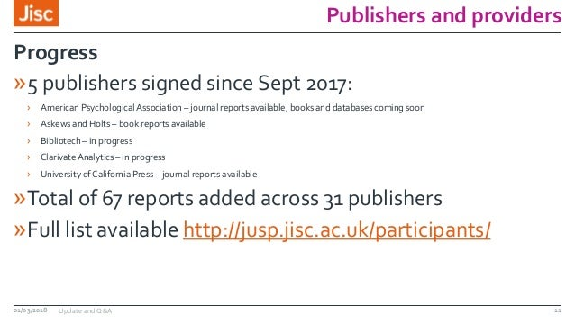 Publishers and providers »5 publishers signed since Sept 2017: › American Psychological Association – journal reports avai...
