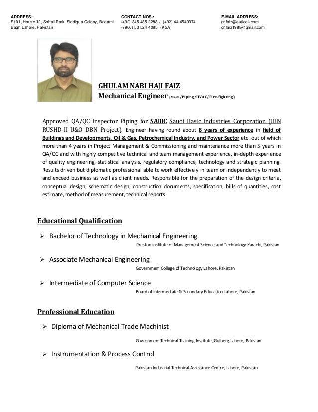 Resume QA/QC Engineer
