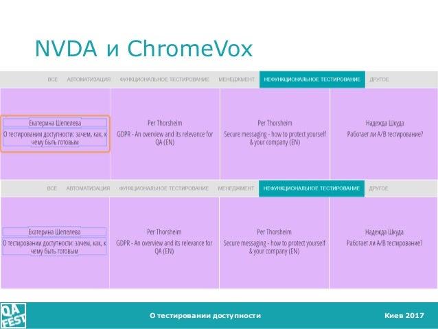 Киев 2017 NVDA и ChromeVox О тестировании доступности