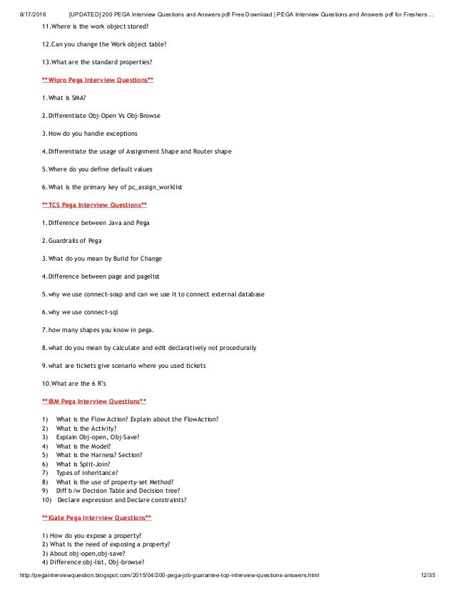 Updated] 200 pega interview questions and answers pdf free