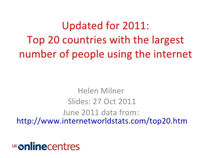 Updated for 2011: Top 20 countries with the largest number of people using the internet Helen Milner  Slides: 27 Oct 2011 ...
