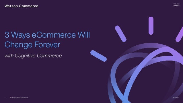 Watson Customer Engagement with Cognitive Commerce 1/23/20171 3 Ways eCommerce Will Change Forever Watson Commerce