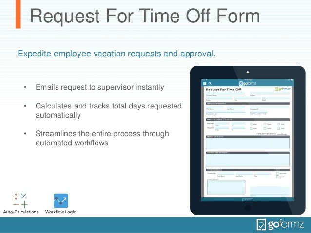 Request For Time Off Form Helps Schedule Employee Vacation