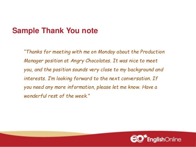 Thank You Note For Meeting Thank You Note After Phone Interview