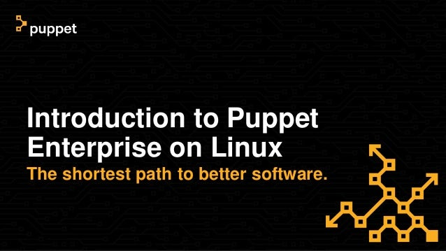 Introduction to Puppet Enterprise on Linux The shortest path to better software.