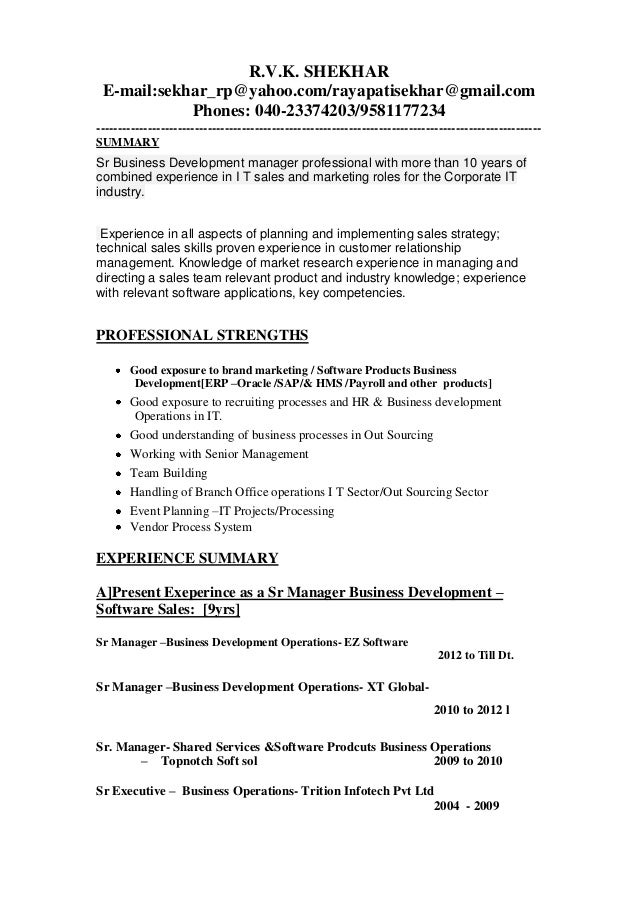updated business development manager resume 1 rvk shekhar e mailsekhar_rpyahoocomrayapatisekhargmail - Business Development Manager Resume