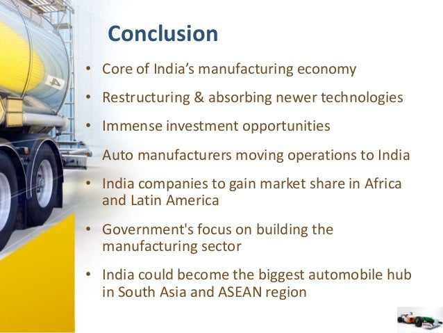 pestel analysis of indian auto parts manufacturing industry A pestel/pestle analysis of general motors company identifies significant   factors in the remote or macro-environment of the automotive industry  the gm  dealership network in developing markets like india and indonesia also  for  general motors through the development, manufacture and sale of.