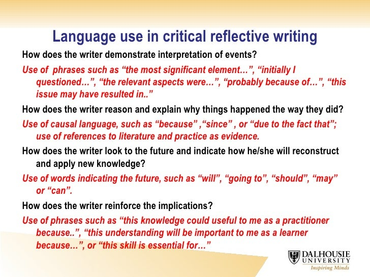 critical reflective writing  16 language use in critical reflective
