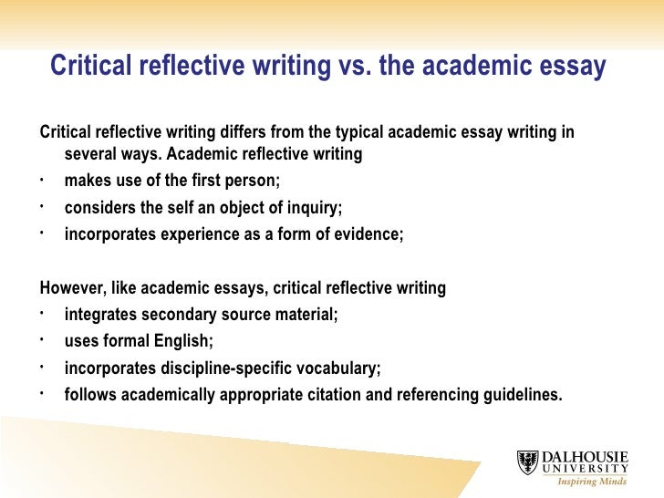 start critical reflective essay Writing the critical response --adapted from simon & schuster handbook for writers, 4th edition a critical response essay (or interpretive essay or review) regardless of length and breadth, all critical responses include the following basic elements: siuc writing center.