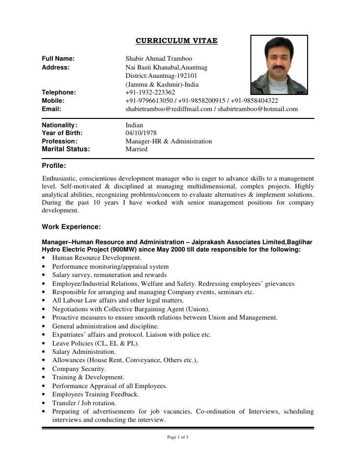 updated cv of shabir