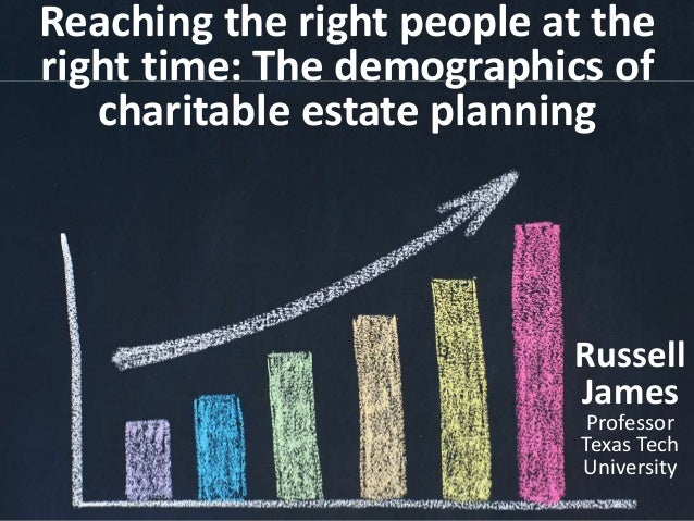 Reaching the right people at the right time: The demographics of charitable estate planning Russell James Professor Texas ...