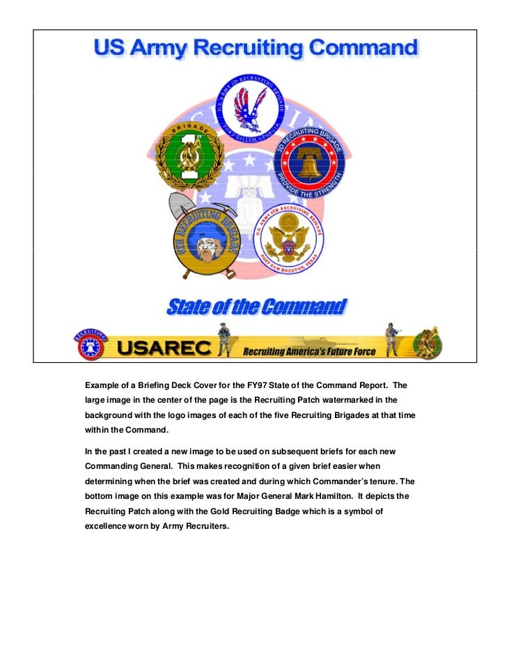Example of a Briefing Deck Cover for the FY97 State of the Command Report. Thelarge image in the center of the page is the...