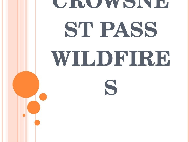 CROWSNEST PASS WILDFIRES