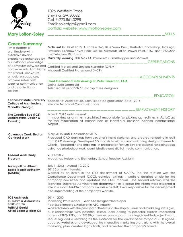 intern architect resume