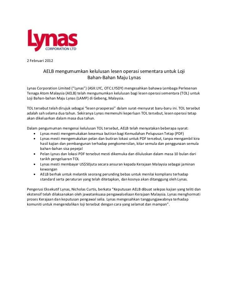 2 Februari 2012         AELB mengumumkan kelulusan lesen operasi sementara untuk Loji                         Bahan-Bahan ...