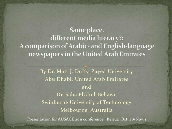 By Dr. Matt J. Duffy, Zayed University         Abu Dhabi, United Arab Emirates                        and              Dr....